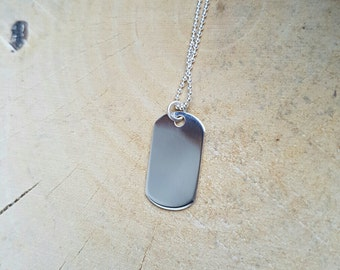 Dog Tag Personalised Dog Tag Necklace Sterling Silver Pendant Boyfriend Gift Dog Tag Dog Tag Hand stamped Jewellery Mens Jewellery
