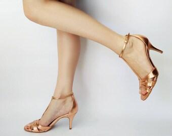 Wedding sandals, Rose gold heel sandals, Bridesmaid shoes, Rose gold shoes, Leather sandals, Bronze t strap sandals, Heels, Dress sandal