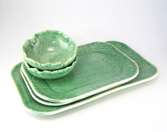 Green Sushi Set, Tapas Plates, Asian Dinner Set For Two, Snack Dishes, Appetizer Serving Dishes, Set of 5 Dishes, Hors D Oeuvres  09-16-17
