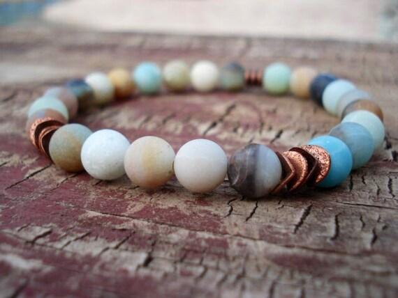 Amazonite Jewelry, Blue Bracelet, Bracelets For Women, Copper Bracelet, Gift for Her, Beaded Bracelet, Handmade Jewelry, Gemstone Jewelry