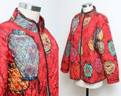 Red Silk Bomber // Chinese Lantern Coat // 90s Chico's Oriental Print Colorful Asian Inspired Lightweight Jacket Size Medium Large