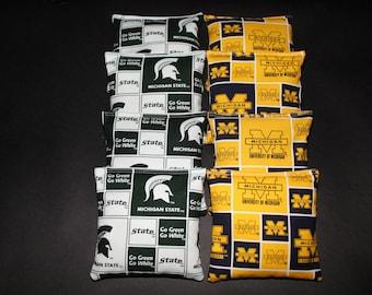 MICHIGAN State Spartans And U Of M Wolverines Cornhole Bean Bags 8 ACA Regulation Corn Hole