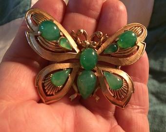 Trifari Jewels of India green stone faux jade butterfly brooch pin