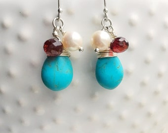 Smooth Turquoise Freshwater Pearl Faceted Garnet Sterling Silver Wire Wrapped Earrings