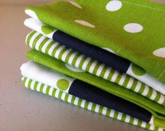 Lunch Box Cloth Napkins, Set of 6, Shades of Chartreuse and Navy BLUE, by CHOW with ME