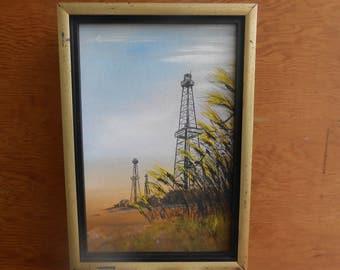Vintage Oil Acrylic Painting Oil Derrick Texas Signed by Artist Framed Artwork Orby Brownen Oklahoma Artist