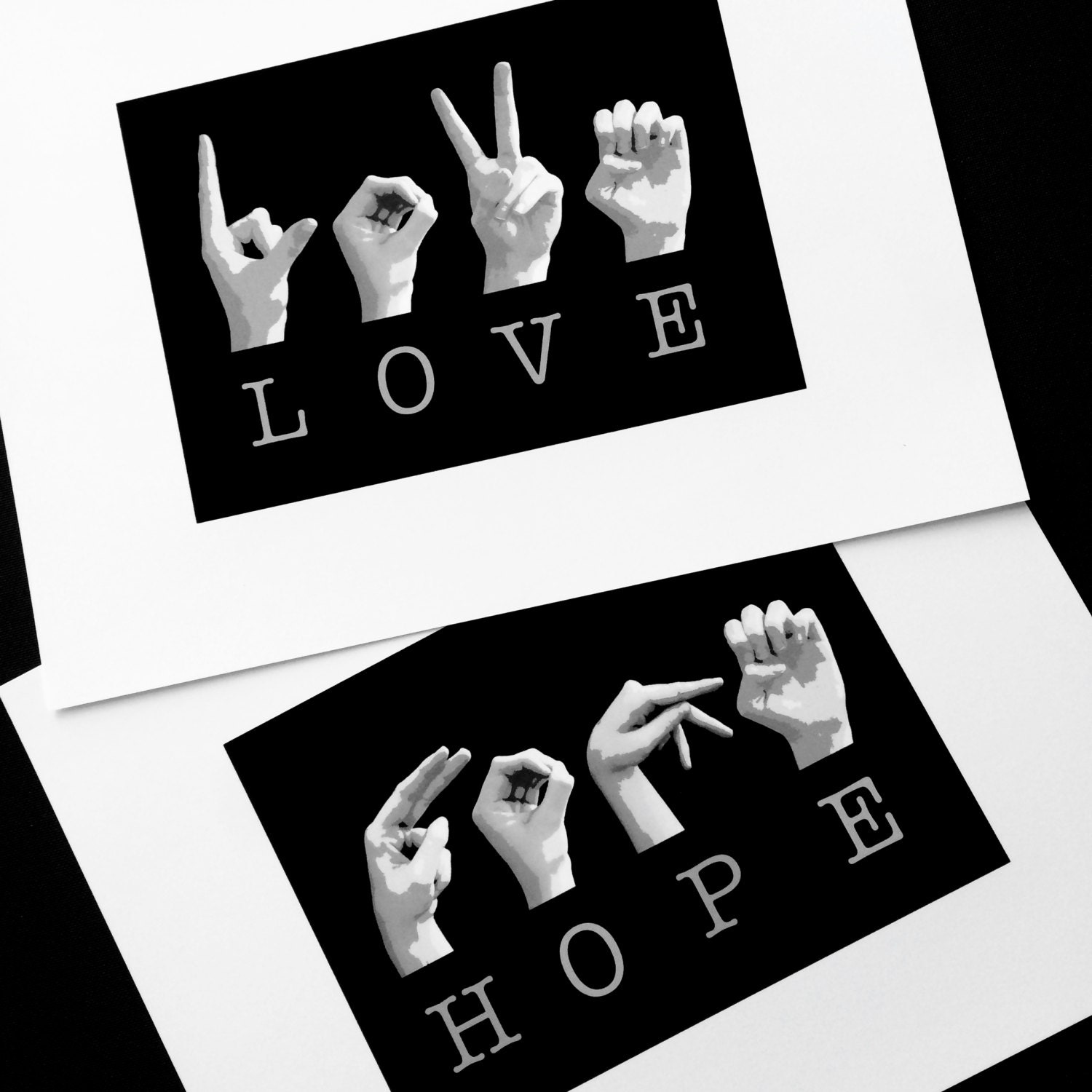 HOPE and LOVE ASL American Sign Language Letters Black & White