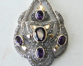Victorian Diamond Natural Amethyst Gold Silver Pendant