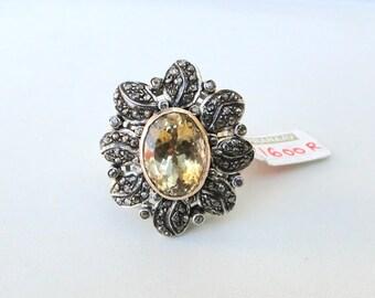 Victorian Diamond Citrine Gemstone 14 K Gold Silver Finger Ring