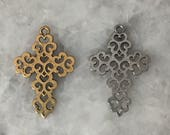"""Filagree Cross Pendant, 1.5"""" Gold OR Silver, 2 Sided, Pewter, Necklace, Lead Free"""