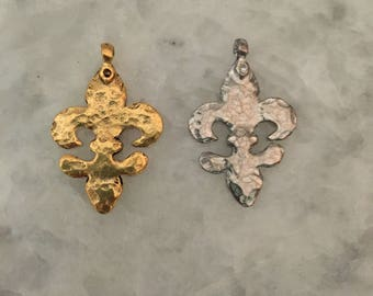 Large Fleur de Lis Pendant w/ Bail, Gold IR Silver, 2 Sided, Hammered, NOLA, Pewter, 24k Gold