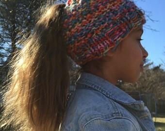 Knit Ponytail or Bun Hat