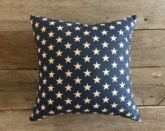 Patriotic Pillow Cover,  Navy Blue Decorative Pillow, Star Pillow, Memorial,  Labor Day, Fourth of July, Summer Decor