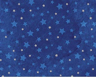 Christmas Fabric - Blue Stars on Royal - Silver Metallic - Cotton Material - Quilting, Clothing, Craft/Fat Quarter, By the Yard, Yardage