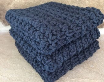 Hand Knit Cotton Dish Cloths Set of 3 Black