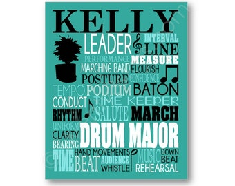 Drum Major Band Typography Poster, Gift for Band Leader, Conductor Gift, Drum Major Gift, Band Member Art, Drum Major Canvas, Band Art Print