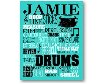 Drums Typography Canvas or Art Print, Choose Any Colors, Gift for Music Lover or Drummer, Snare Drum Band Typography Wall Art Poster Print