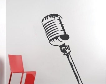Microphone Wall Decal, Music Wall Decals, Microphone Stand Removable Wall Vinyl Decal, Singing Wall Vinyl Art, Mics Wall Vinyl Decal, b15