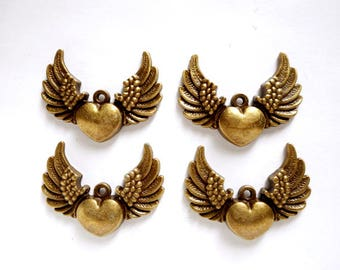 4 Antique Bronze Heart Wing Charms - 27-30-4