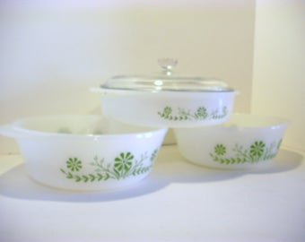 Vintage Glasbake 2500, Home Decor, Home and Living, White, Milk Glass, Antique Casserole Dishes, Green Daisy Design, Serving Dishes, Retro