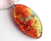 Intense Russet Dichroic Glass Pendant, Red Fused Glass Jewelry, Copper Art Glass Necklace