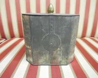 "Vintage Steampunk Industrial Cog Design Tin Keepsakes Stash Box Many Storage Uses Nice Metal Colored Canister  6"" Tall"