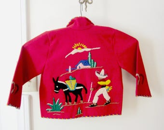 child's Mexican wool embroidered red jacket
