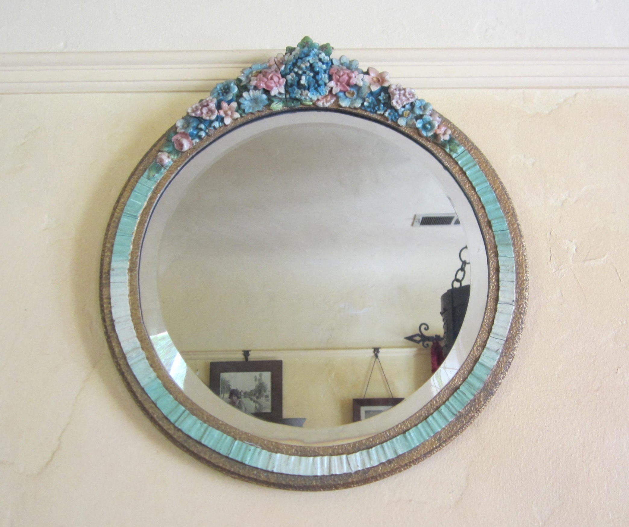 Barbola Mirror Shabby Chic Decor English 1930s Round Wall