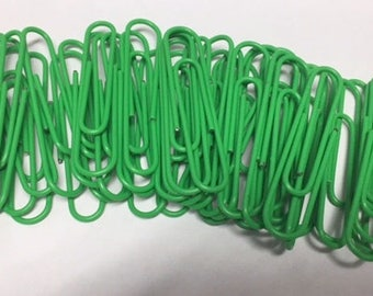 "2"" Bright Green Paper Clips for Planners (50 Pcs.) ~ Paper Clip Art ~ Decorate"