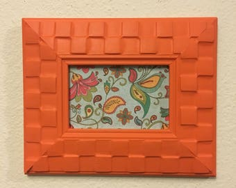picture frame upcycled handpainted orange 4x6 photo frame funky decor unique frame - Unique Picture Frames