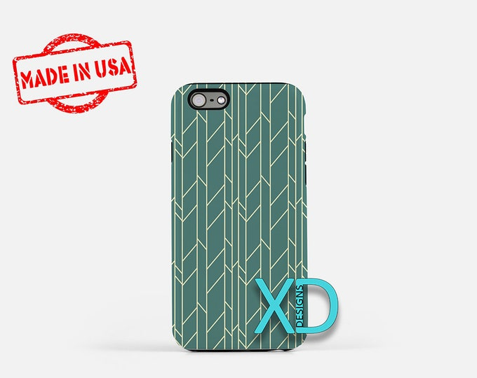 Retro Line Phone Case, Retro Line iPhone Case, Branch iPhone 7 Case, Teal, Branch iPhone 8 Case, Retro Line Tough Case, Clear Case, Linear