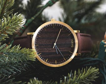 Personalized Watch Wood, Walnut Wood Gold Watch, Brown Leather Strap - CSTM-HELM-WG