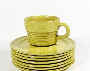 Mikasa Painted Sands Yellow Stone Cup and 6 Saucers - Midcentury Dinnerware - 70s Dinnerware Hippie Boho Organic Stoneware