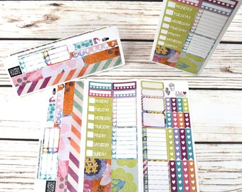 """On-The-Go Trifold """"Happy Days"""" Planner Sticker Sheet, Distressed Look Planner stickers, fits Erin Condren Vertical, folded sticker sheet"""