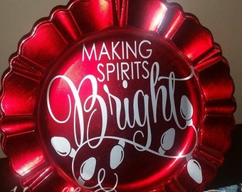 SALE SAVE 50% Making Spirits Bright Holiday Christmas Charger Decoration Red Maroon Silver Gray