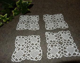 Set of4 swedish hand crocheted doilies / vintage / rare / white