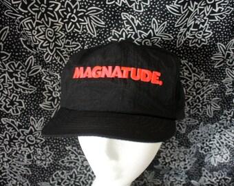 Vintage 90s Hipster Nylon Hat. Magnatude Corporate Logo Black Baseball Snapback Hat With A Bright Orange Magnatude Logo.