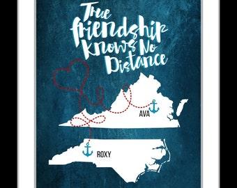 Best friend long distance, best friend christmas gift, true friendship, christmas, state map art, friend moving away, friendship quote