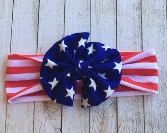 Red White and Blue Bow headband