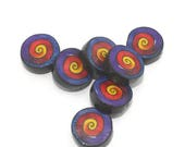 SPRING SALE Polymer Clay colorful set of 7 round flat beads in purple, red, orange and yellow. Unique spirals beads