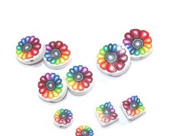 SALE 20% OFF - Colorful flower beads, unique set of 10 Polymer Clay rainbow beads, round flat beads