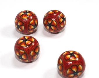 SPRING SALE Elegant beads in a variety of orange, yellow and red, Polymer Clay round beads, Millefiori unique beads in flower pattern, Set o