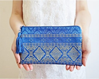 Royal Blue and Gold Silk Clutch Purse Geometric Design Shining Sparkling Glittering evening purse zip clutch with handmade tassel