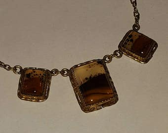 Antique Victorian Picture Agate Necklace 12k Gold Filled