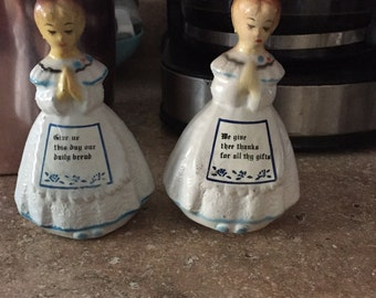 Vintage Plastic Praying Girls Salt & Pepper Shakers