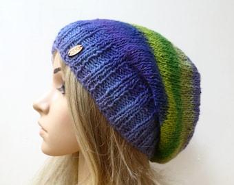Wool Silk Mohair Slouchy - Hand Knit Hat - Women Knit Slouch Hat - Purple Green Slouchy Beanie - Spring Oversized Beanie - ClickClackKnits