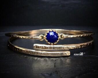 Genuine Lapis Lazuli Bangle / Blue Lapis Bracelet / Sterling Silver or 14k Gold Fill / Mothers Jewelry / Gift for Her / Slip On Bangle