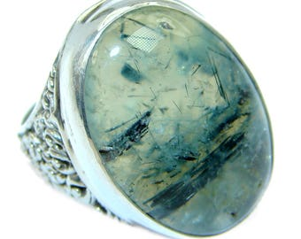 Moss Prehnite Sterling Silver Ring - weight 11.70g - Size 8 - dim L - 1, W - 3 4, T - 1 4 inch - code 21-kwi-17-15
