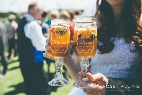 Custom Etched Set of 2 Redneck Wine Glasses 16oz Mason Jar Wine Glasses with Deer Antlers