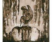 Grave Painting Print, Dark Art, Gothich Art. Fine Art LIMITED EDITION print, signed and numbered. Gothic Surrealism, Sepia Ink Watercolors